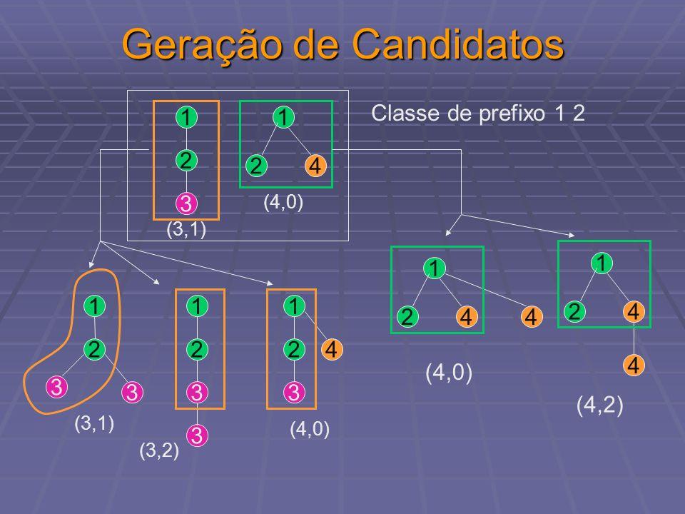 Geração de Candidatos Classe de prefixo 1 2 1 2 3 4 4 1 2 (4,2) 4 1 2