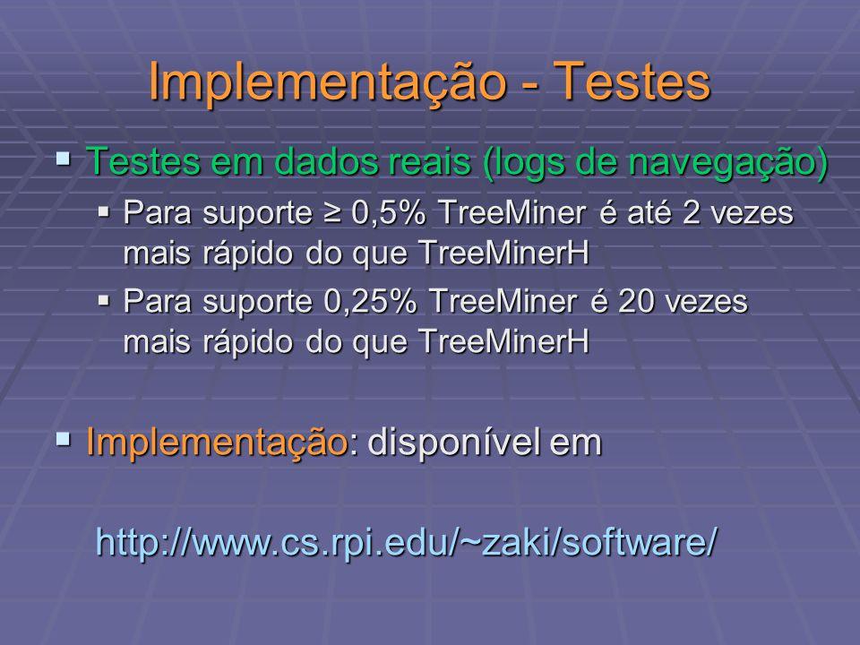 Implementação - Testes