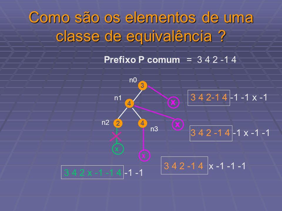 Como são os elementos de uma classe de equivalência