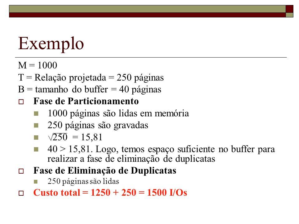 Exemplo M = 1000 T = Relação projetada = 250 páginas