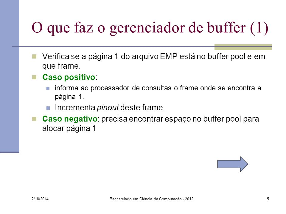 O que faz o gerenciador de buffer (1)