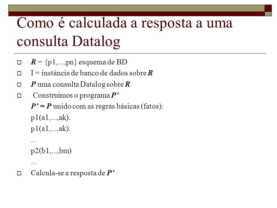 Como é calculada a resposta a uma consulta Datalog