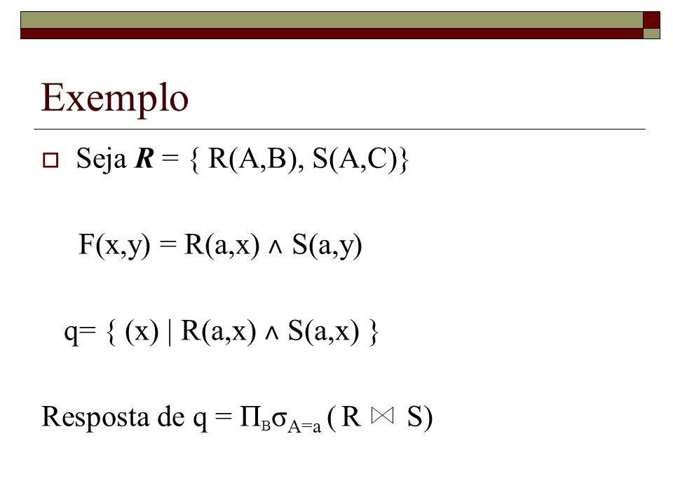 Exemplo Seja R = { R(A,B), S(A,C)} F(x,y) = R(a,x) ˄ S(a,y)