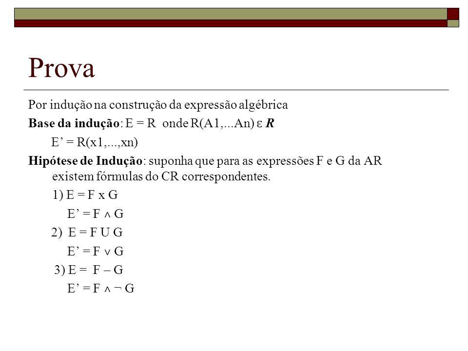 Prova Por indução na construção da expressão algébrica