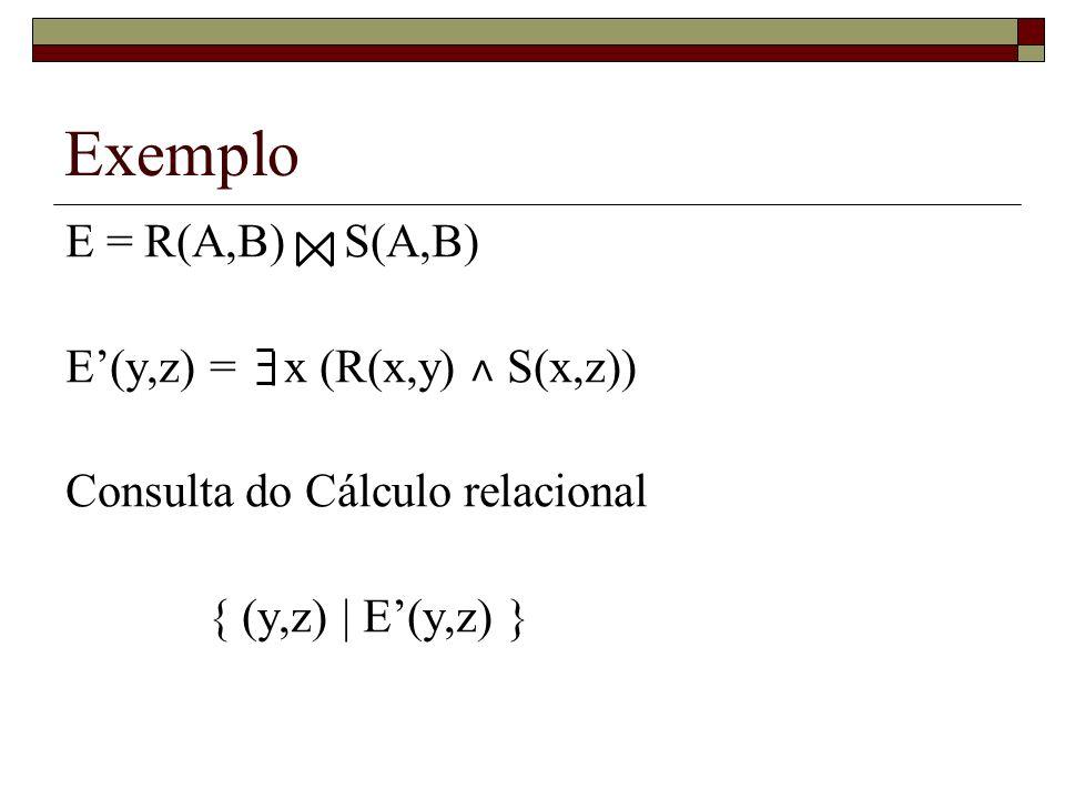 Exemplo E = R(A,B) S(A,B) E'(y,z) = x (R(x,y) ˄ S(x,z))