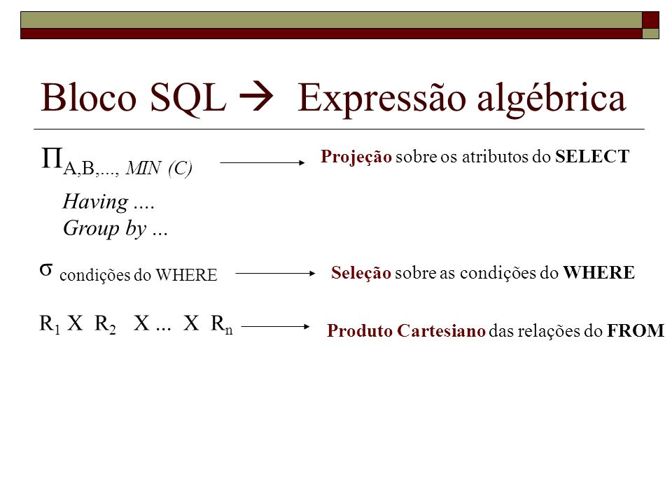 Bloco SQL  Expressão algébrica