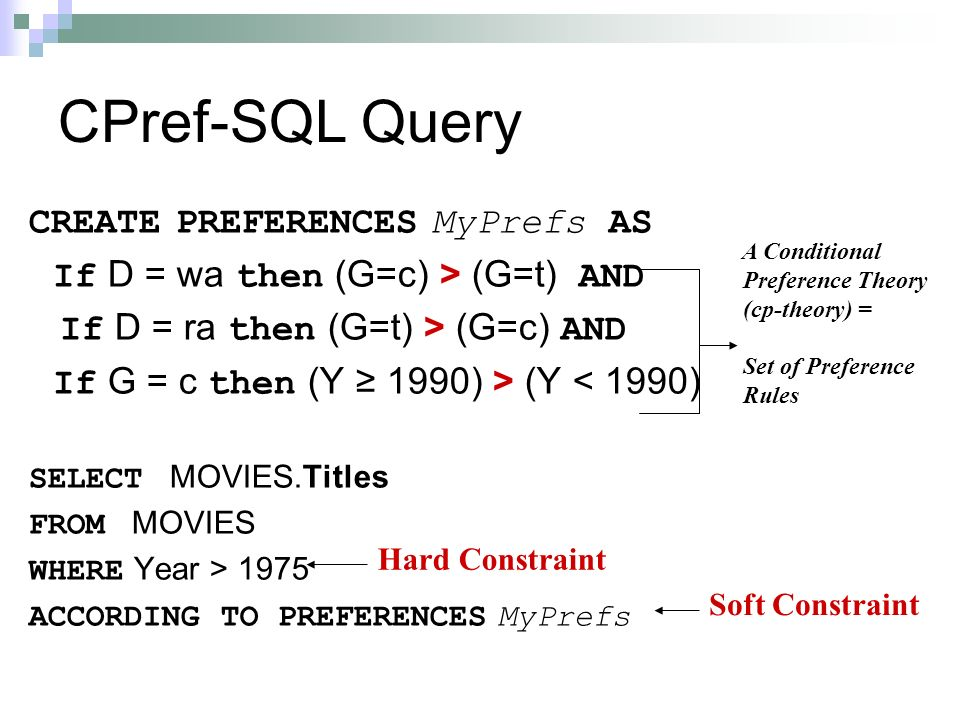 CPref-SQL Query CREATE PREFERENCES MyPrefs AS