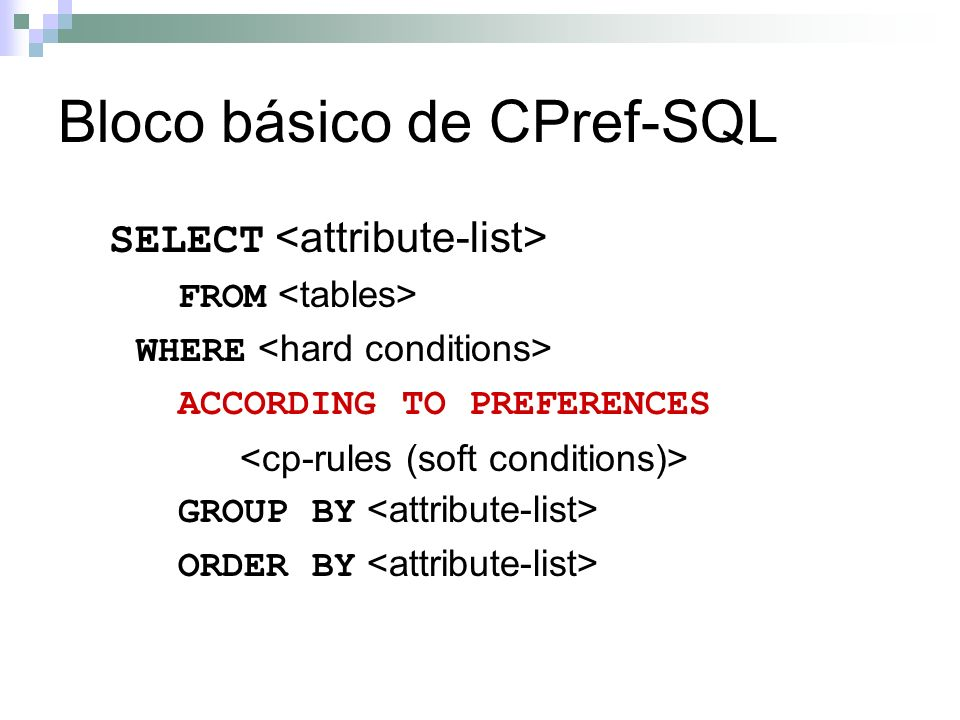 Bloco básico de CPref-SQL