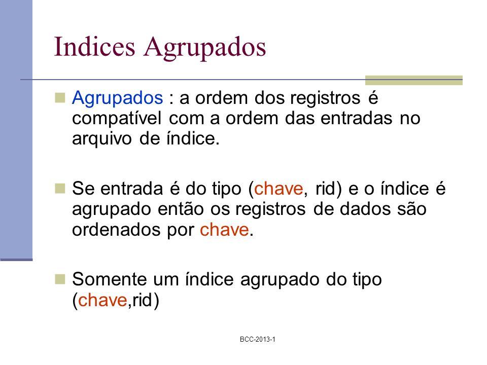 Indices Agrupados Agrupados : a ordem dos registros é compatível com a ordem das entradas no arquivo de índice.