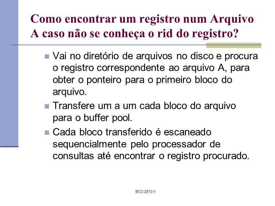 Como encontrar um registro num Arquivo A caso não se conheça o rid do registro