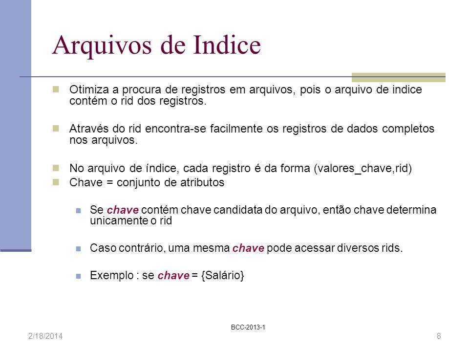 Arquivos de IndiceOtimiza a procura de registros em arquivos, pois o arquivo de indice contém o rid dos registros.