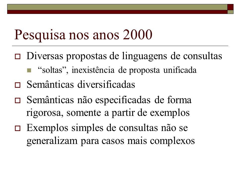 Pesquisa nos anos 2000 Diversas propostas de linguagens de consultas