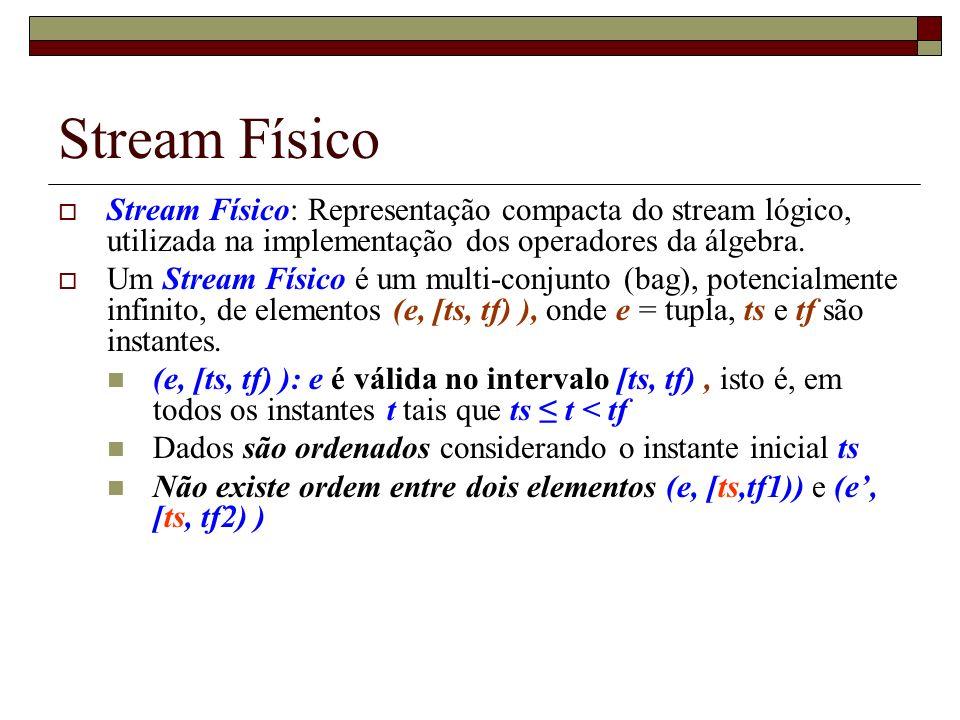 Stream Físico Stream Físico: Representação compacta do stream lógico, utilizada na implementação dos operadores da álgebra.
