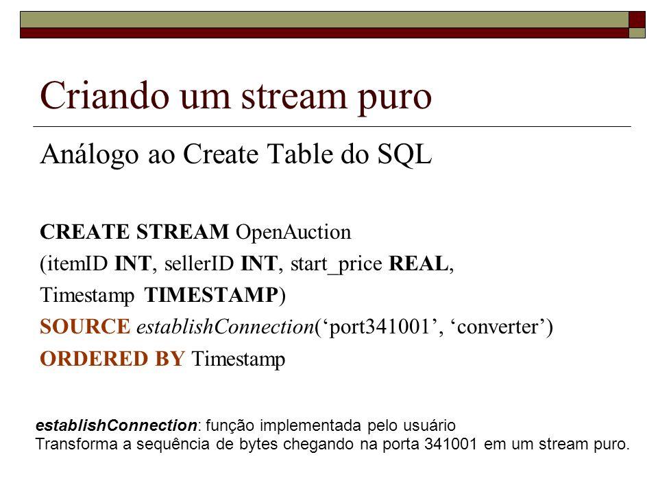 Criando um stream puro Análogo ao Create Table do SQL