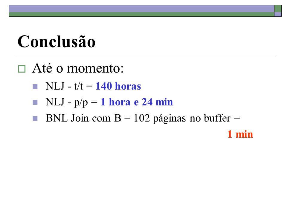 Conclusão Até o momento: NLJ - t/t = 140 horas