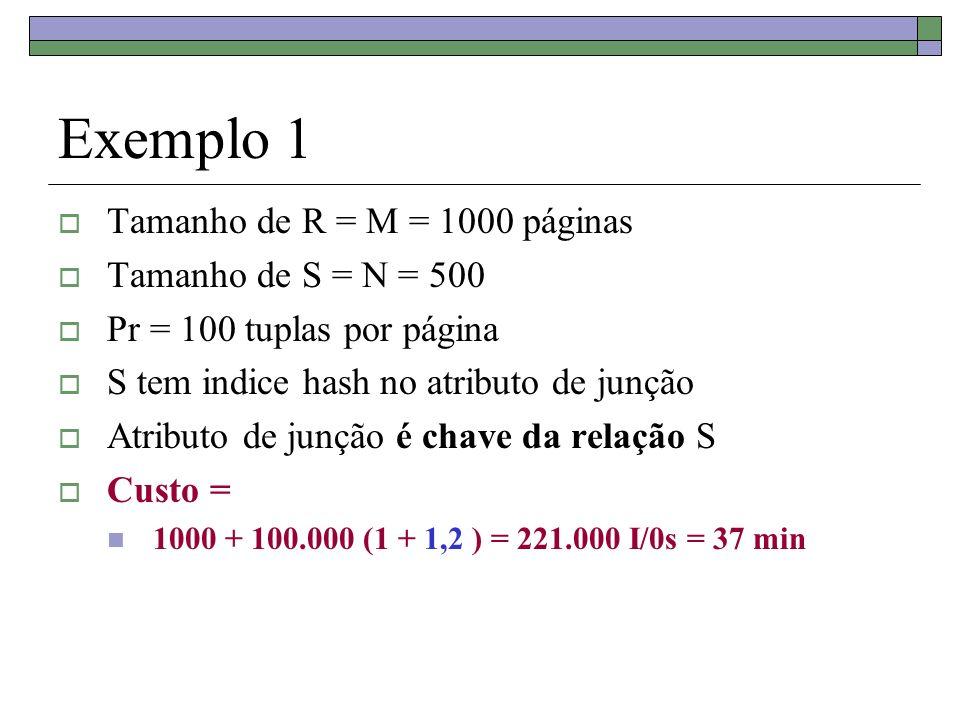 Exemplo 1 Tamanho de R = M = 1000 páginas Tamanho de S = N = 500