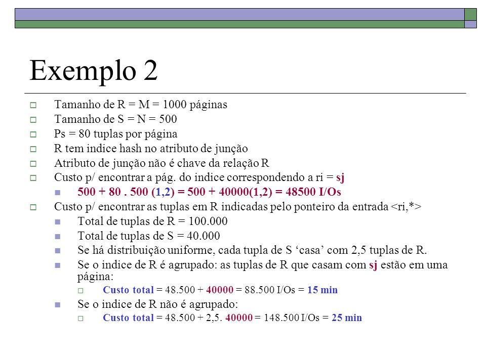 Exemplo 2 Tamanho de R = M = 1000 páginas Tamanho de S = N = 500