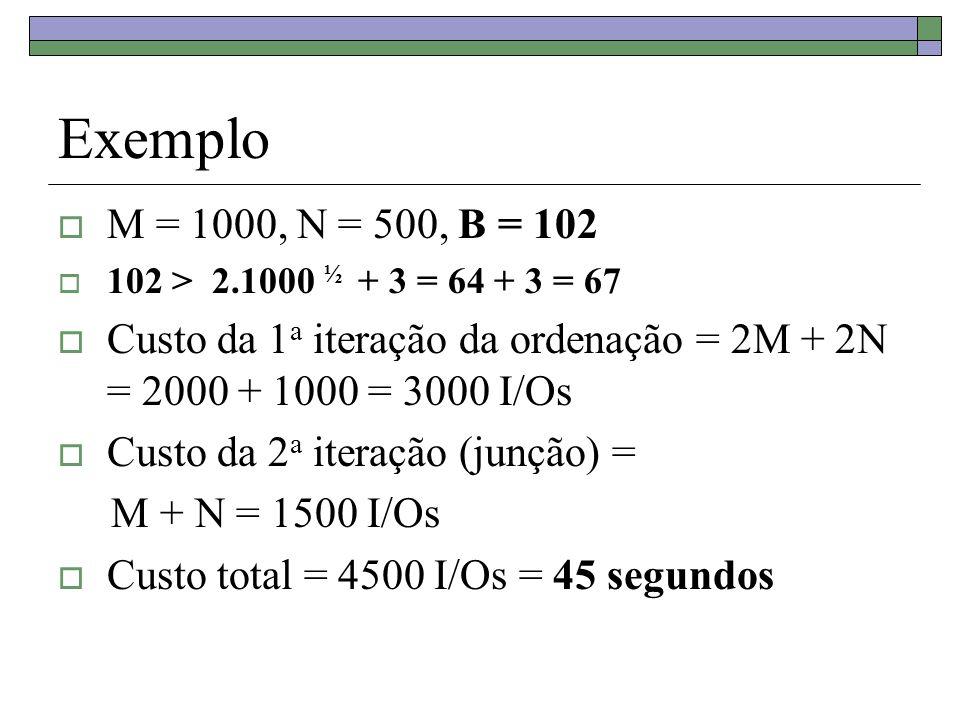 Exemplo M = 1000, N = 500, B = 102. 102 > 2.1000 ½ + 3 = 64 + 3 = 67. Custo da 1a iteração da ordenação = 2M + 2N = 2000 + 1000 = 3000 I/Os.