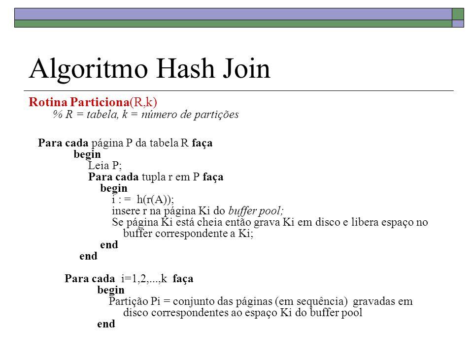 Algoritmo Hash JoinRotina Particiona(R,k) % R = tabela, k = número de partições.