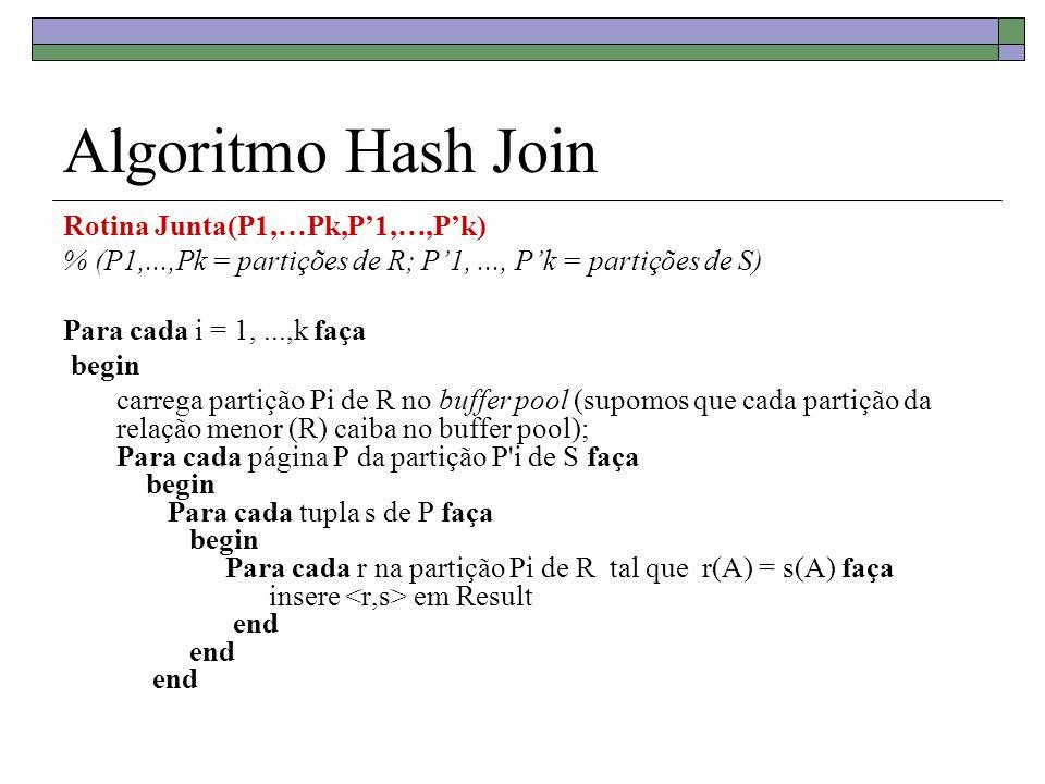 Algoritmo Hash Join Rotina Junta(P1,…Pk,P'1,…,P'k)