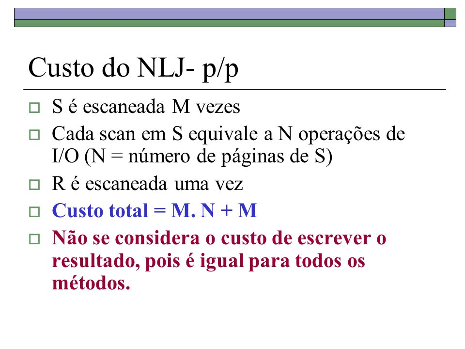 Custo do NLJ- p/p S é escaneada M vezes