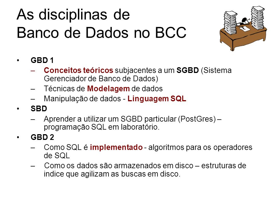 As disciplinas de Banco de Dados no BCC