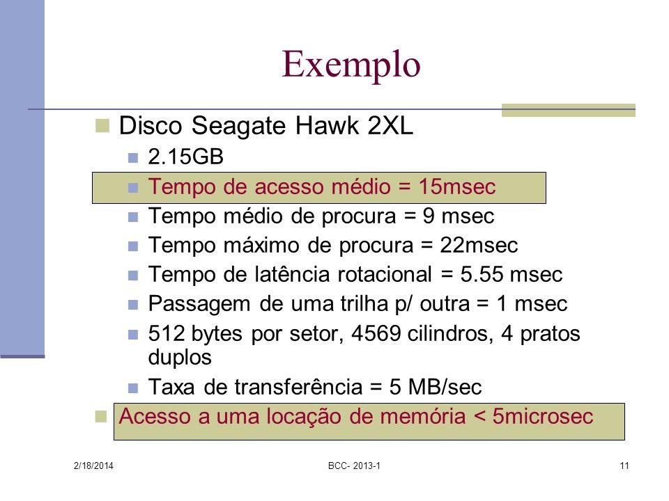 Exemplo Disco Seagate Hawk 2XL 2.15GB Tempo de acesso médio = 15msec