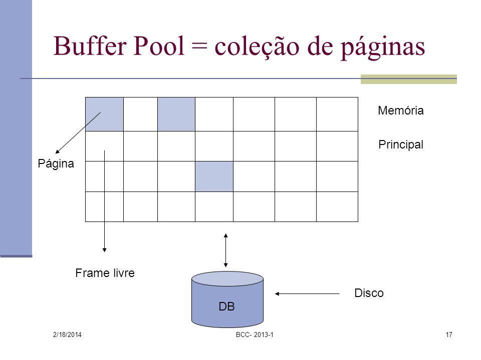 Buffer Pool = coleção de páginas