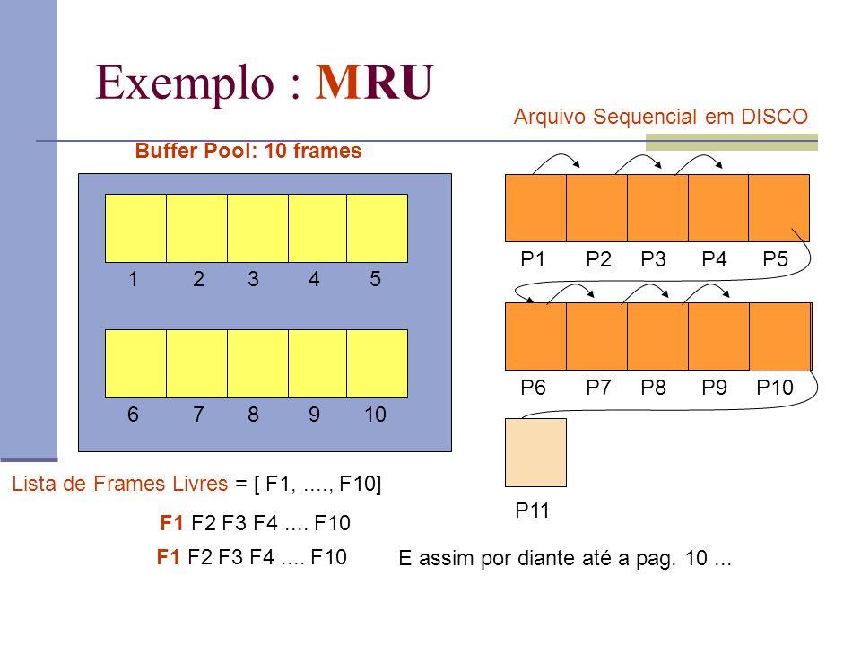 Exemplo : MRU Arquivo Sequencial em DISCO Buffer Pool: 10 frames P1 P2