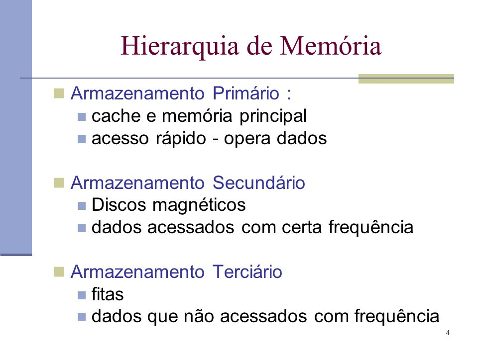 Hierarquia de Memória Armazenamento Primário :