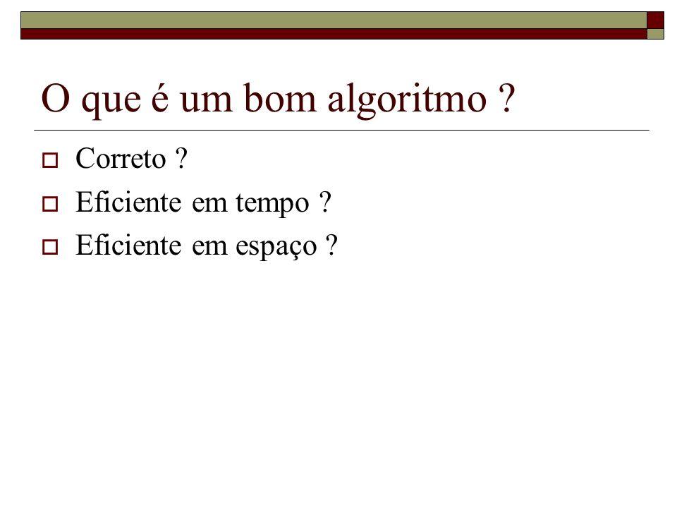 O que é um bom algoritmo Correto Eficiente em tempo