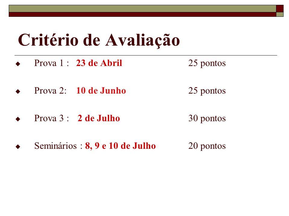 Critério de Avaliação Prova 1 : 23 de Abril 25 pontos