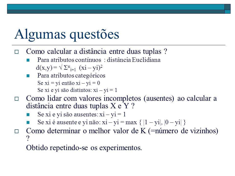 Algumas questões Como calcular a distância entre duas tuplas