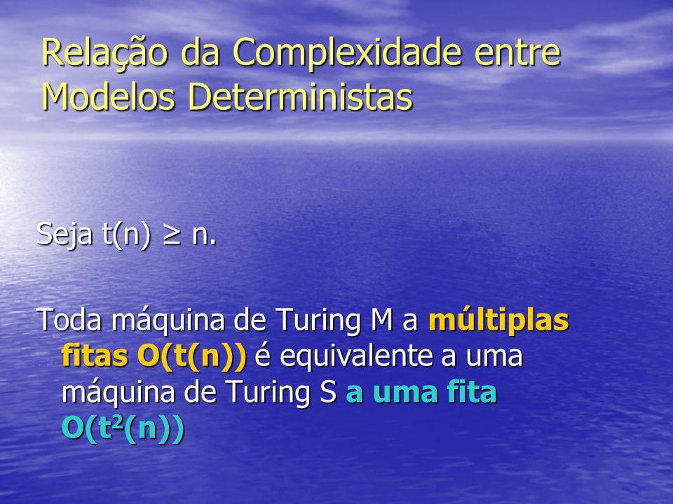Relação da Complexidade entre Modelos Deterministas