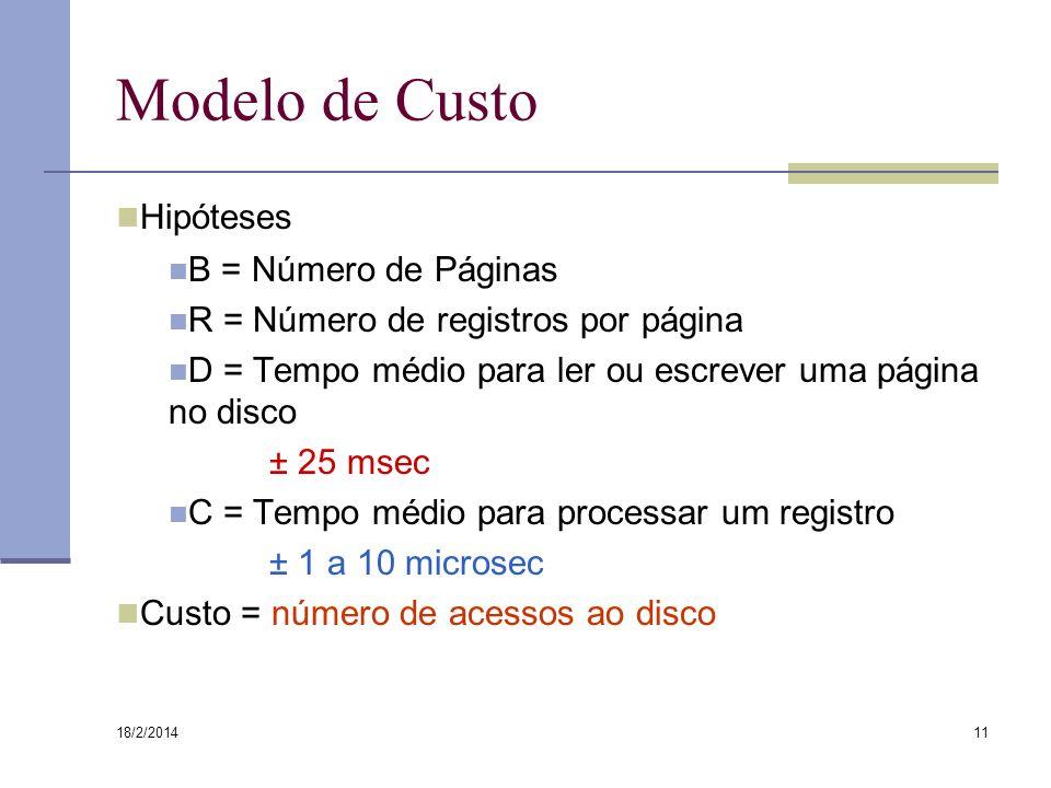 Modelo de Custo Hipóteses B = Número de Páginas