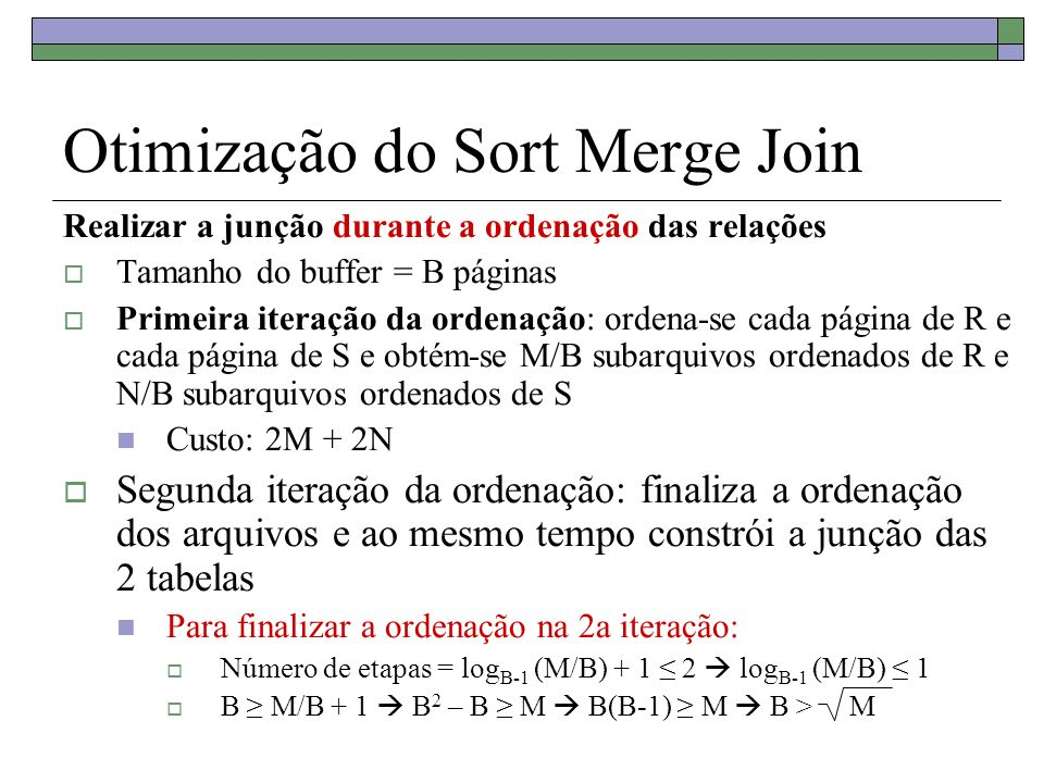 Otimização do Sort Merge Join