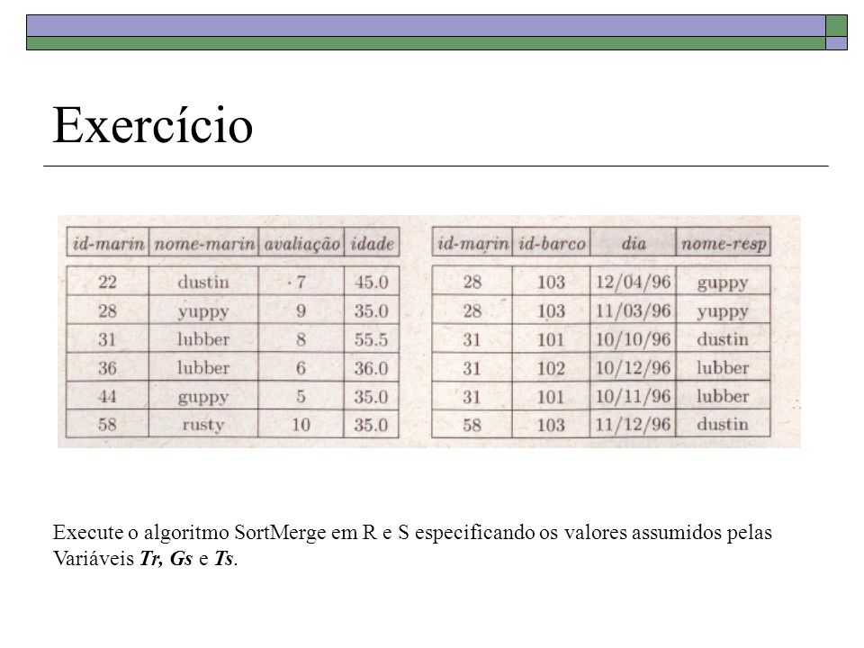 Exercício Execute o algoritmo SortMerge em R e S especificando os valores assumidos pelas. Variáveis Tr, Gs e Ts.