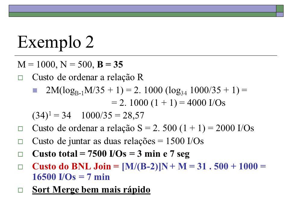 Exemplo 2 M = 1000, N = 500, B = 35 Custo de ordenar a relação R
