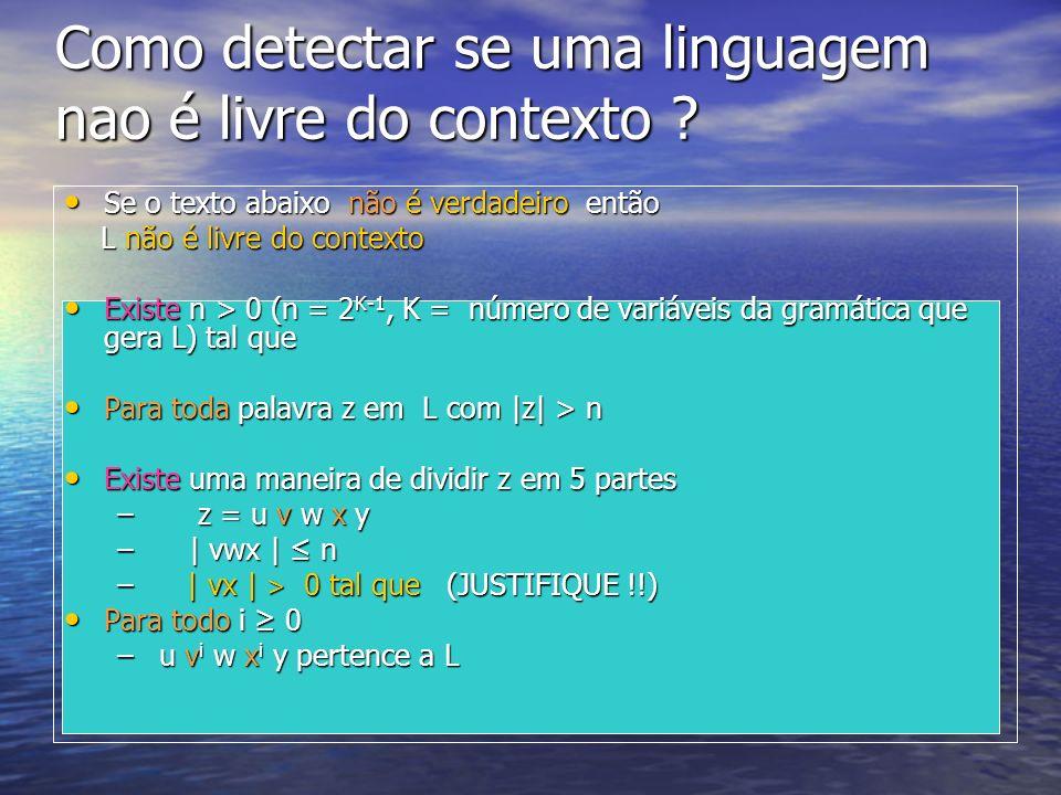 Como detectar se uma linguagem nao é livre do contexto