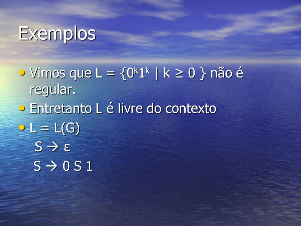 Exemplos Vimos que L = {0k1k | k ≥ 0 } não é regular.