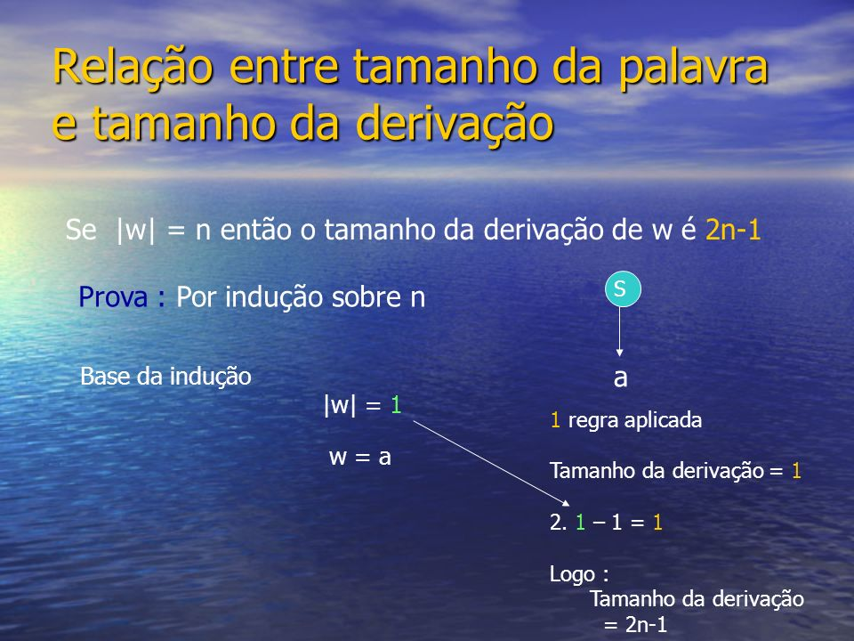 Relação entre tamanho da palavra e tamanho da derivação