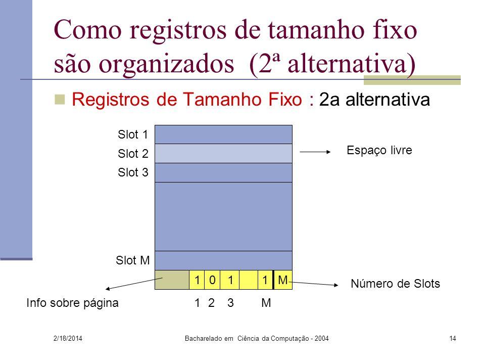 Como registros de tamanho fixo são organizados (2ª alternativa)