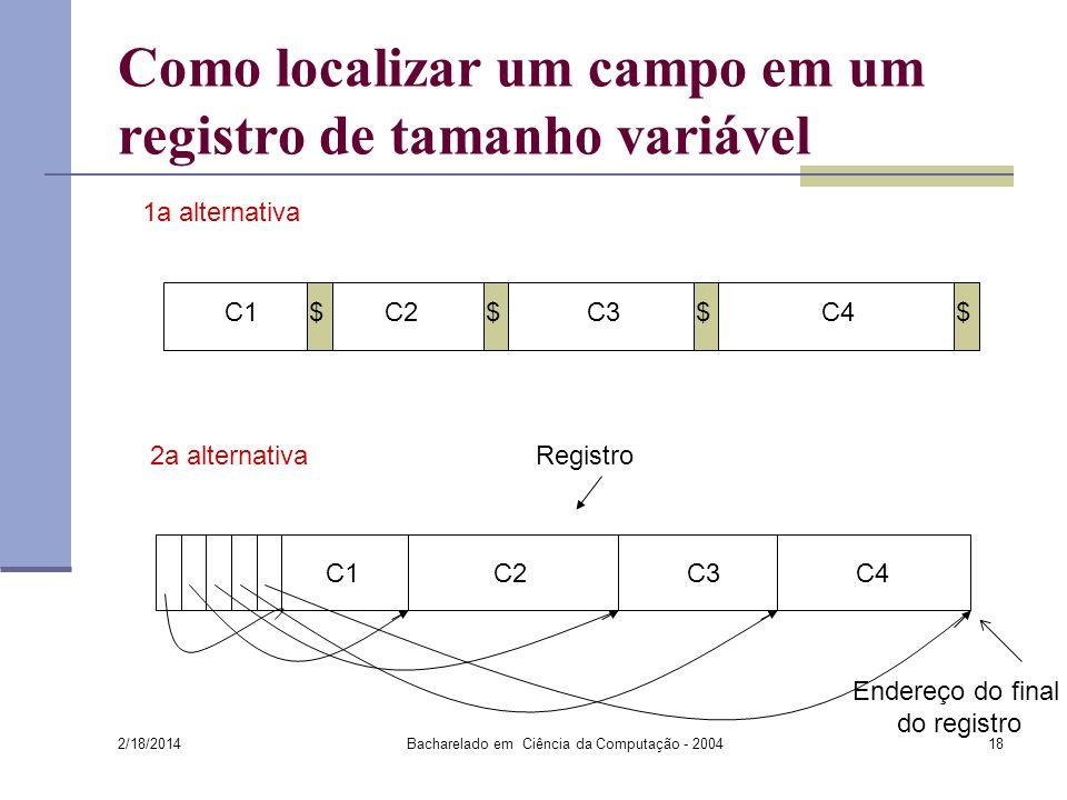 Como localizar um campo em um registro de tamanho variável