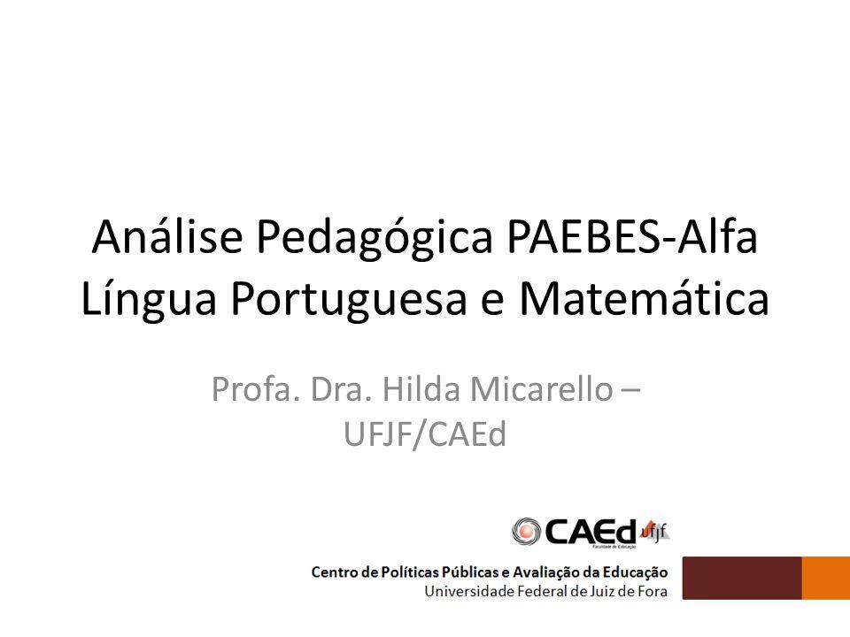 Análise Pedagógica PAEBES-Alfa Língua Portuguesa e Matemática