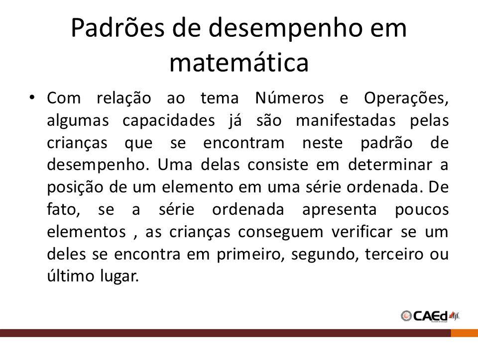 Padrões de desempenho em matemática