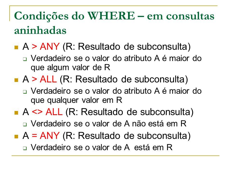 Condições do WHERE – em consultas aninhadas