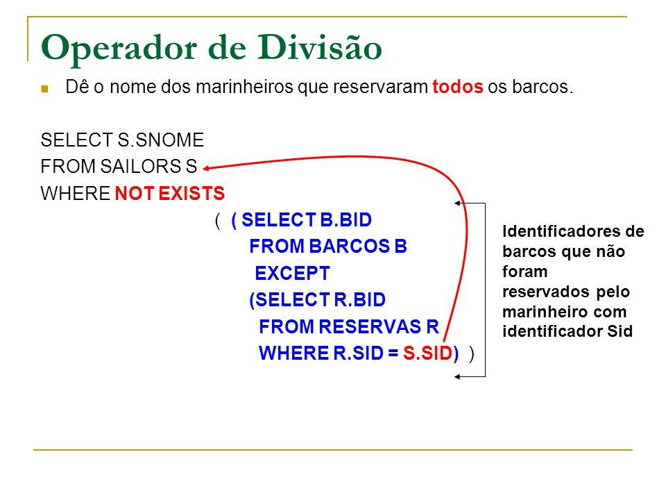 Operador de DivisãoDê o nome dos marinheiros que reservaram todos os barcos. SELECT S.SNOME. FROM SAILORS S.