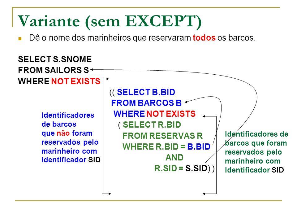 Variante (sem EXCEPT)Dê o nome dos marinheiros que reservaram todos os barcos. SELECT S.SNOME. FROM SAILORS S.