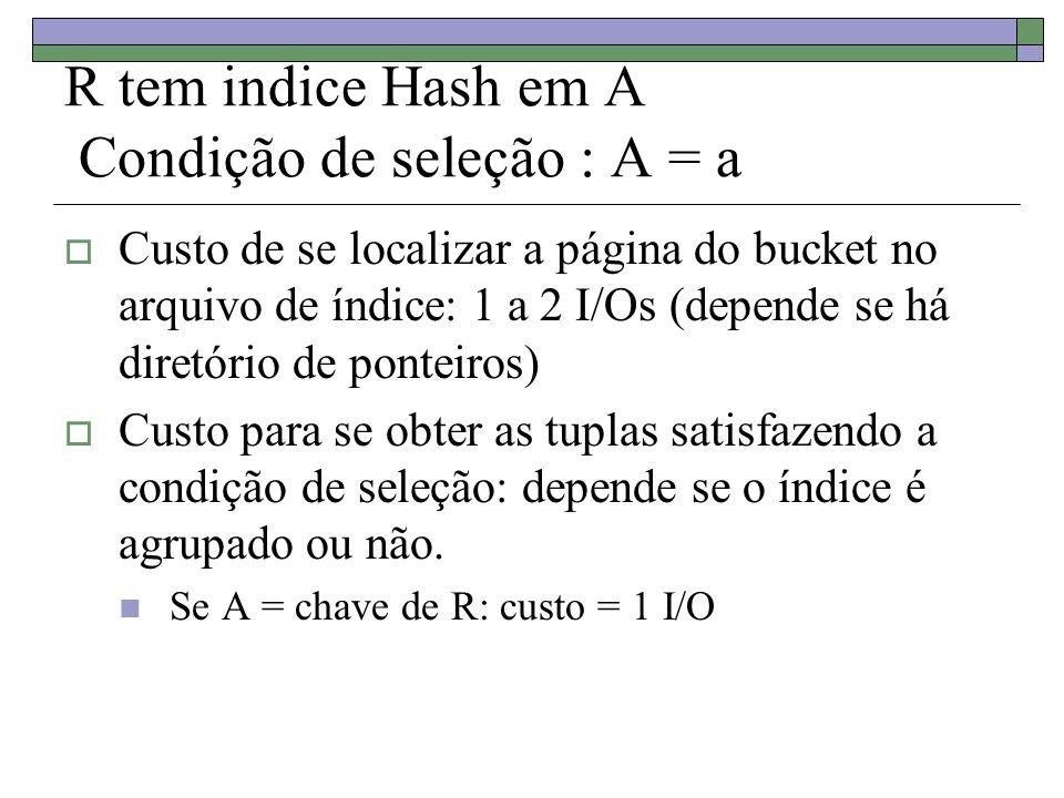 R tem indice Hash em A Condição de seleção : A = a