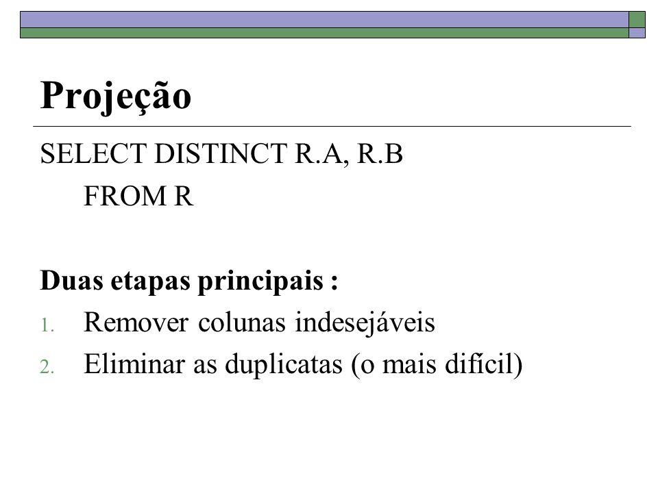 Projeção SELECT DISTINCT R.A, R.B FROM R Duas etapas principais :